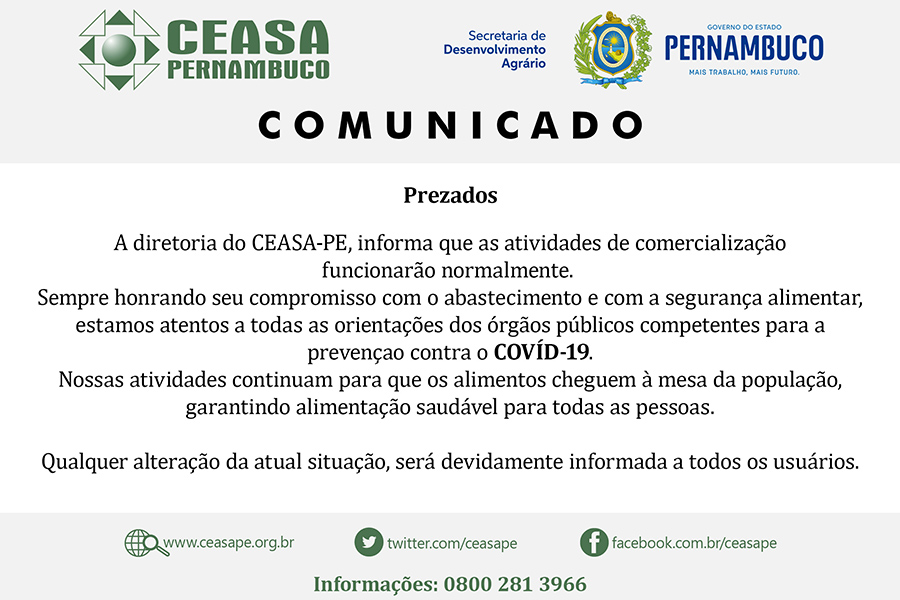 Ceasa terá expediente normal