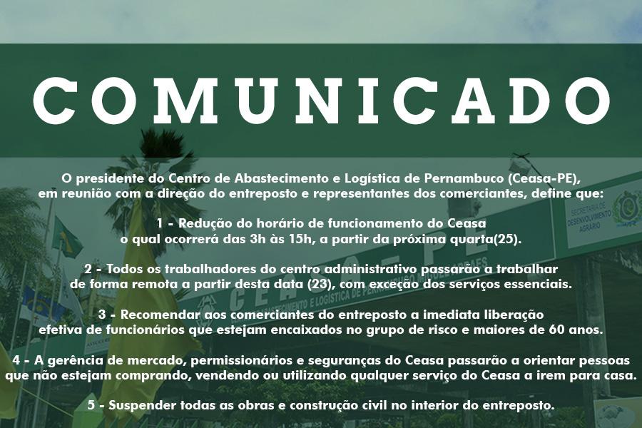 COMUNICADO OFICIAL SOBRE FUNCIONAMENTO E CORONAVÍRUS